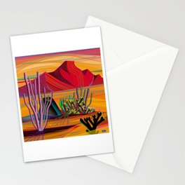 Cactus Garden Sunset Square Stationery Cards