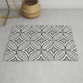 Black and White Tile Pattern Painting II Rug