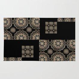 Black and Rose-Gold Floral Mandala Patch-Work Textile Rug
