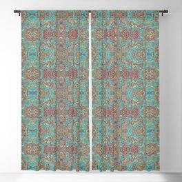 Birds of Sunrise Bohemian Arabesqe Pattern Turquoise Copper Rust Blackout Curtain