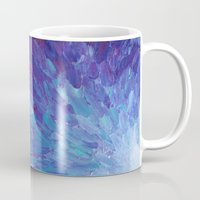 helen Mugs featuring SCALES OF A DIFFERENT COLOR - Abstract Acrylic Painting Eggplant Sea Scales Ocean Waves Colorful by EbiEmporium