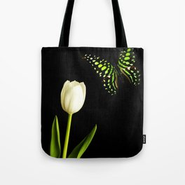 Beautiful butterfly and white tulip flower Tote Bag