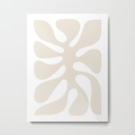 Abstract Monstera Leaf 2. White Metal Print