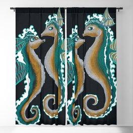 Two Teal Green Seahorses Mixed Media Drawing Blackout Curtain