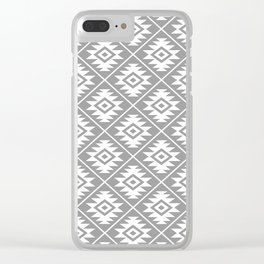 Aztec Symbol Pattern White on Gray Clear iPhone Case