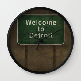 Welcome to Detroit highway road side sign Wall Clock