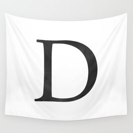 Letter D Initial Monogram Black and White Wall Tapestry