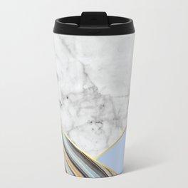 White Marble Blue Marble & Light Blue #368 Travel Mug