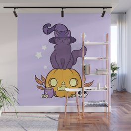 Pumpkin Cat Wall Mural