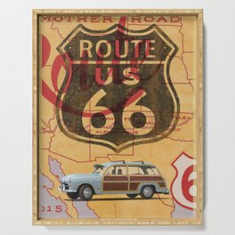 Route 66 Vintage Travel Poster Serving Tray