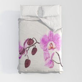 pink orchid flower watercolor painting Comforters
