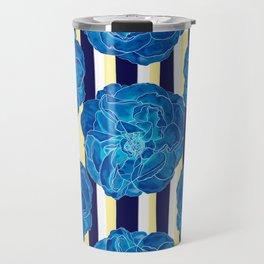 Blue Roses on Navy Stripes Travel Mug