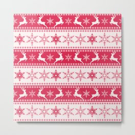 Christmas red and white pattern with decorative bands. Metal Print