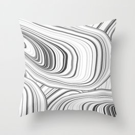 White and Black Geode Abstract Art Throw Pillow