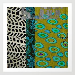 Teal & Olive Abstract Art Collage Art Print