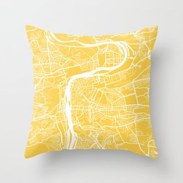 Prague map yellow Throw Pillow