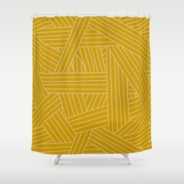 Crossing Lines in Mustard Yellow Shower Curtain