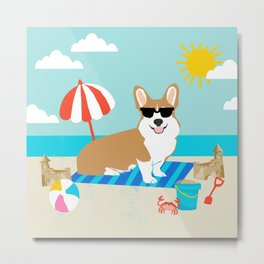 Corgi Summer Beach Day Sandcastles Dog Art Metal Print