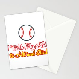 Teach Kids Hit and Steal Baseball Funny Mom Stationery Cards