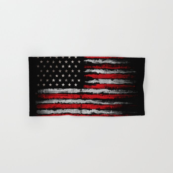 Red & white Grunge American flag Hand & Bath Towel