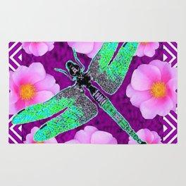 Decorative Nouveau Aqua Dragonfly Pink Roses Rug