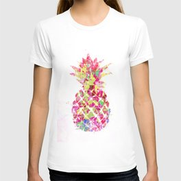 pineapple in pink yellow green blue with geometric triangle pattern abstract T-shirt