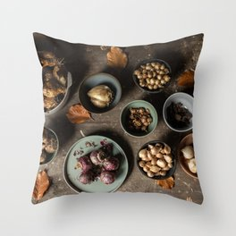 Waiting | a table full of spring bulbs | fine art still life color photography | print wall art Throw Pillow