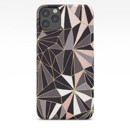 Stylish Art Deco Geometric Pattern - Black, Coral, Gold #abstract #pattern iPhone Case