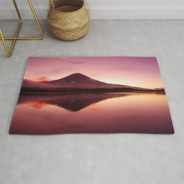 Magnificent Mountain Reflection In Lake At Romantic Sunset Purple Shade Ultra HD Rug