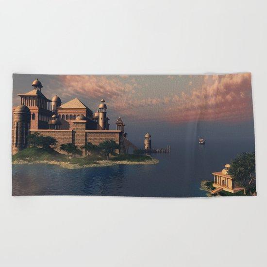 Beautiful Fantasy Town Beach Towel