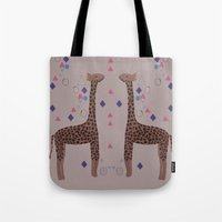 giraffes Tote Bags featuring Giraffes by Louise Elizabeth