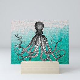 Antique Nautical Steampunk Octopus Vintage Kraken sea monster ombre turquoise blue pastel watercolor Mini Art Print