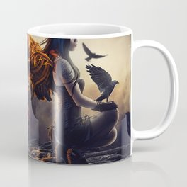 Amazing Mystic Emo Angel Girl Crow Feathers Burning UHD Coffee Mug