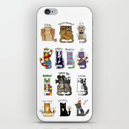Science cats. History of great discoveries. Schrödinger cat, Einstein. Physics, chemistry etc iPhone Skin