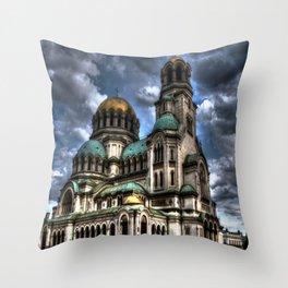 Alexander Nevski Cathedral , Sofia , Bulgaria- HDR photo Throw Pillow