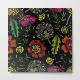 Embroidered Flowers on Black Pattern 04 Metal Print