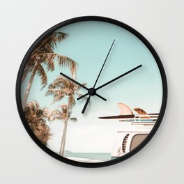 Retro Camper Van with Surfboard at the Beach Wall Clock