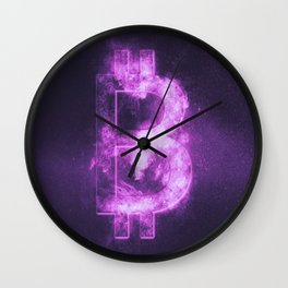 Bitcoin sign. Bitcoin Symbol. Crypto currency symbol. Monetary currency symbol. Abstract night sky b Wall Clock