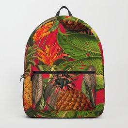 Vintage & Shabby Chic - Hot Summer Pineapple Tropical Flower Garden Backpack