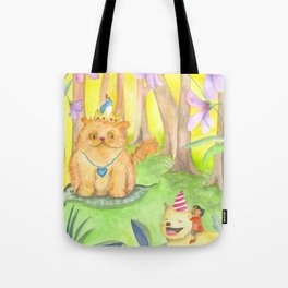 Magical Forest and the King Cat Tote Bag