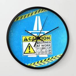 Caution machines at work Wall Clock