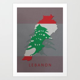 Lebanon, Outline, Map Art Print