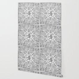 Mayan Spring B&W Wallpaper