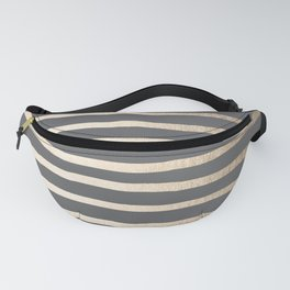Simply Drawn Stripes White Gold Sands on Storm Gray Fanny Pack