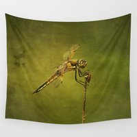 darwin Wall Tapestries featuring 4-Spotted Skimmer Dragonfly by Cindi Ressler Photography