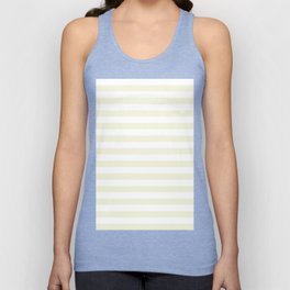Narrow Horizontal Stripes - White and Beige Unisex Tank Top