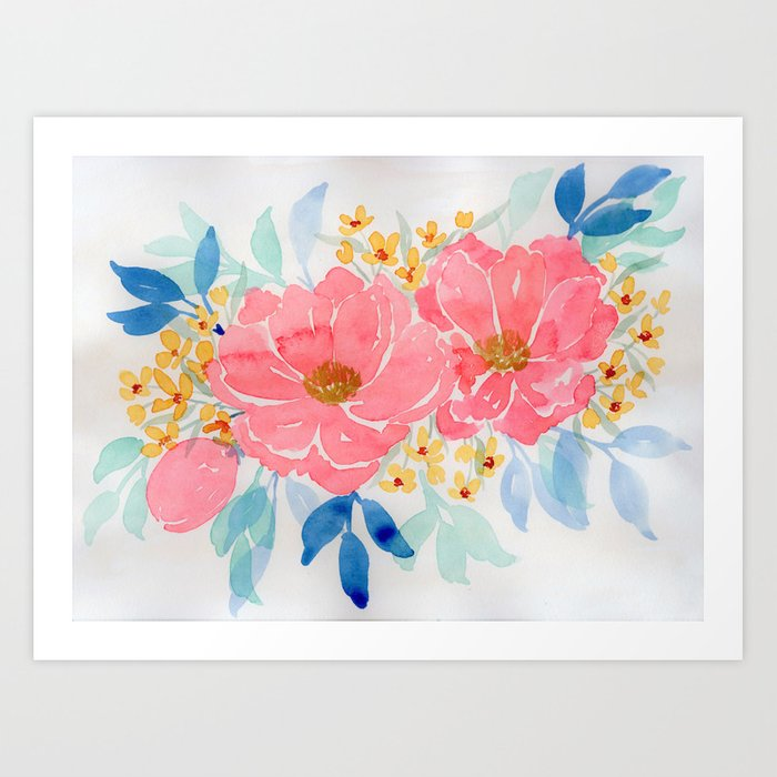 Abstract Floral Painting Loose Floral Art Print Watercolor Flowers