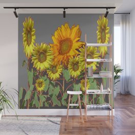 SUNFLOWER FIELD in CHARCOAL GREYS Wall Mural