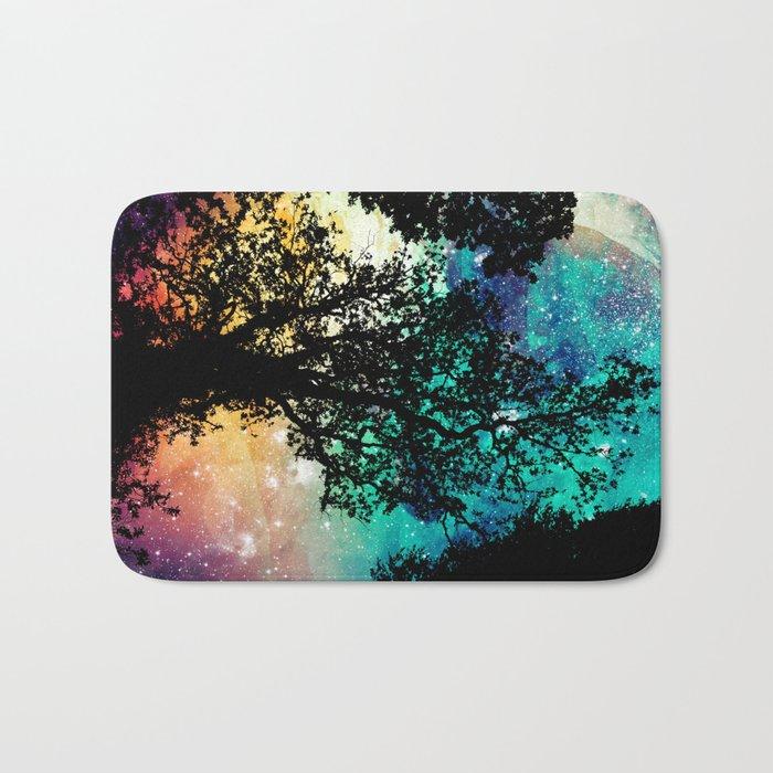 Black Trees Colorful Space Bath Mat