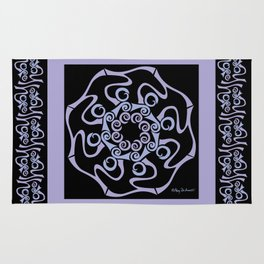 Hope Mandala with Border - Lavender Black Rug